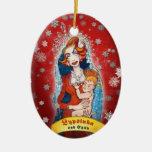 Ornamento #3 adorno navideño ovalado de cerámica