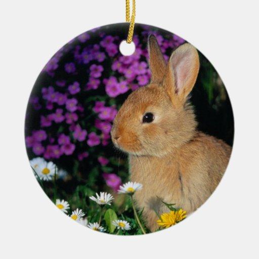 ornamento 3 del conejito adorno navideño redondo de cerámica