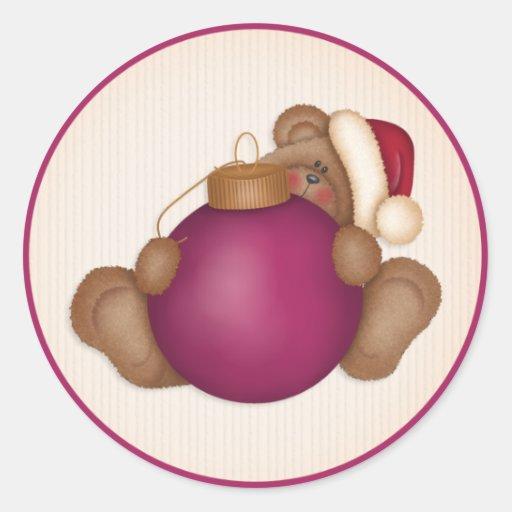 Ornamento 3 del oso de peluche w - pegatinas del etiquetas redondas