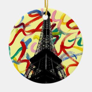 Ornamento abstracto de la torre de Arte-Eiffel Adorno Navideño Redondo De Cerámica