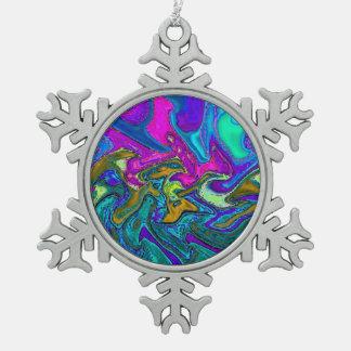 Ornamento abstracto de neón del copo de nieve adorno