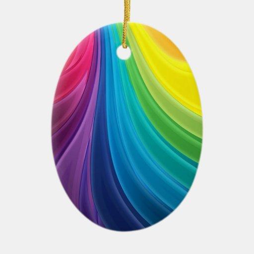 Ornamento abstracto del arco iris del fractal adorno ovalado de cerámica