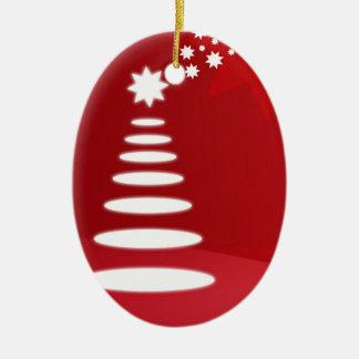 Ornamento abstracto del navidad del árbol adorno ovalado de cerámica