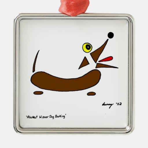 Ornamento abstracto del perro de la salchicha de adorno navideño cuadrado de metal
