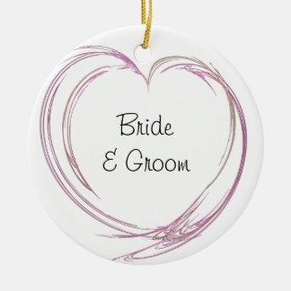 Ornamento abstracto rosado del boda del corazón adorno de reyes