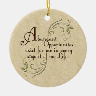 Ornamento abundante de la afirmación de las oportu ornamento de navidad