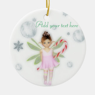 Ornamento adaptable de hadas del caramelo del adorno navideño redondo de cerámica