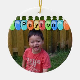 Ornamento adaptable de la foto de las luces de adorno navideño redondo de cerámica