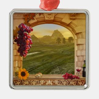 Ornamento adaptable de la foto del viñedo (boda) adorno navideño cuadrado de metal