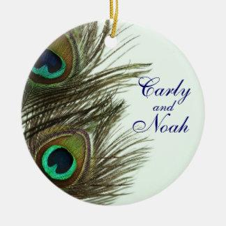 Ornamento adaptable del boda de la pluma del pavo