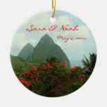 Ornamento adaptable del boda del paraíso tropical adorno navideño redondo de cerámica