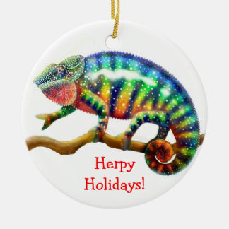 Ornamento adaptable del día de fiesta del camaleón adorno navideño redondo de cerámica