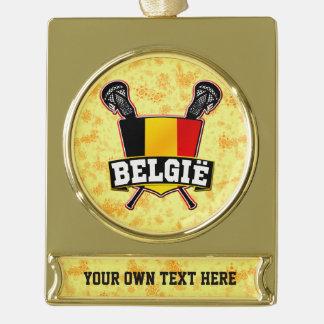 Ornamento adaptable del navidad de Bélgica Rótulos De Adorno Dorado