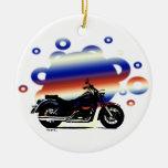 Ornamento adaptable del navidad de la motocicleta adorno navideño redondo de cerámica