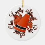 Ornamento adaptable negro y anaranjado de la alegr ornamento para arbol de navidad