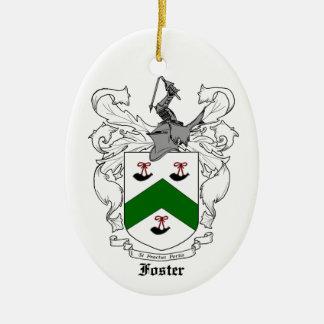 Ornamento adoptivo del escudo de la familia adorno navideño ovalado de cerámica