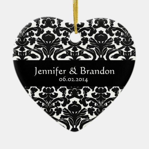 Ornamento adornado blanco y negro del boda del adornos
