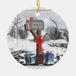 Ornamento adornado de la escena del invierno de adorno navideño redondo de cerámica