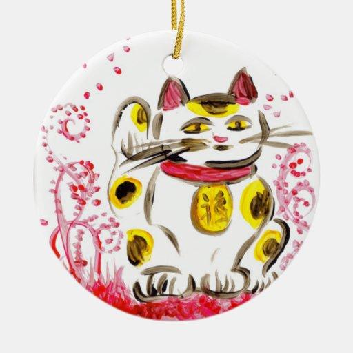 Ornamento afortunado del gato adorno navideño redondo de cerámica