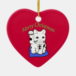Ornamento afortunado del navidad del gato de Manek Ornato
