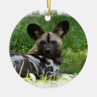 Ornamento africano de la foto del perro salvaje adorno navideño redondo de cerámica