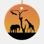 Ornamento africano de la silueta del sunet de la j adorno de reyes