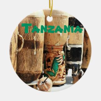 Ornamento africano del navidad de los bongos de adorno navideño redondo de cerámica