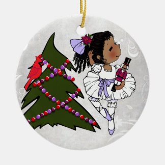 Ornamento afroamericano del navidad de la adorno navideño redondo de cerámica