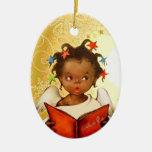 Ornamento afroamericano del navidad del ángel del ornamentos para reyes magos