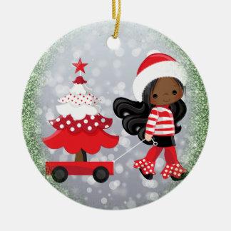 Ornamento afroamericano del navidad del chica adorno navideño redondo de cerámica