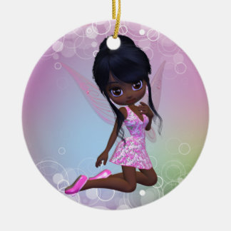 Ornamento afroamericano lindo del chica adorno navideño redondo de cerámica