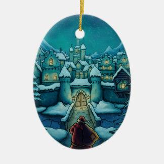 ornamento agradable de santa adorno navideño ovalado de cerámica