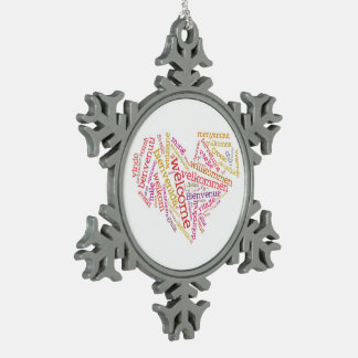 Ornamento agradable del corazón (muchas idiomas) adorno de peltre en forma de copo de nieve