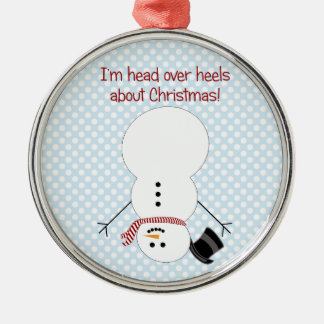 Ornamento al revés del muñeco de nieve adorno navideño redondo de metal
