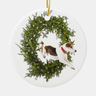 Ornamento alegre del día de fiesta del salto de adorno navideño redondo de cerámica