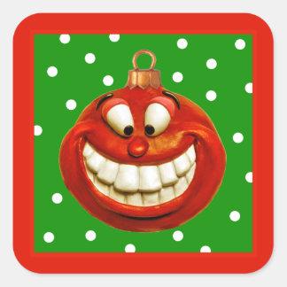 Ornamento alegre del navidad colcomanias cuadradases