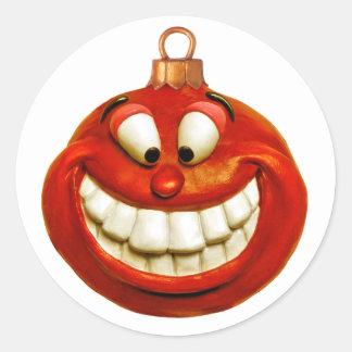 Ornamento alegre del navidad pegatinas redondas