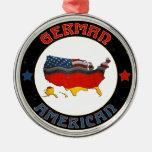 Ornamento alemán de las banderas americanas adorno navideño redondo de metal
