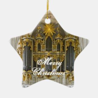 Ornamento alemán del navidad del órgano adorno navideño de cerámica en forma de estrella