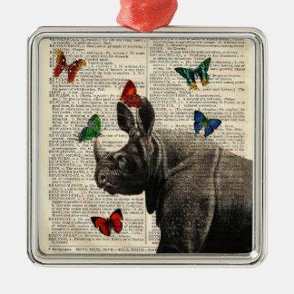 Ornamento alterado de las mariposas del rinoceront ornamento de navidad