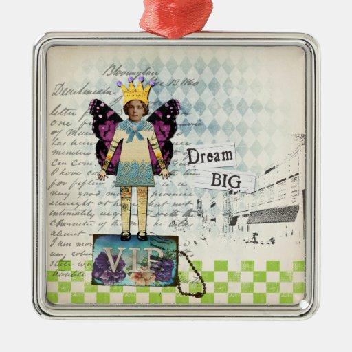 Ornamento alterado grande ideal del collage del adorno cuadrado plateado