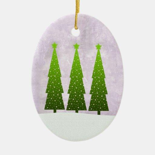 Ornamento alto de tres árboles de navidad adorno navideño ovalado de cerámica