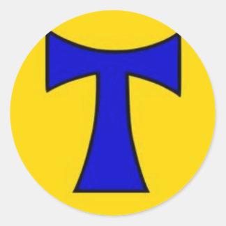 Ornamento amarillo azul de la cadena del pegatina