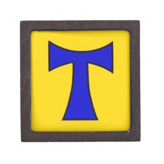 Ornamento amarillo azul de la cadena del pegatina  caja de regalo de calidad