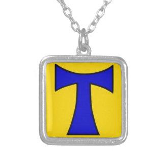 Ornamento amarillo azul de la cadena del pegatina  pendiente
