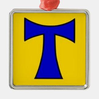Ornamento amarillo azul de la cadena del pegatina ornamento para reyes magos