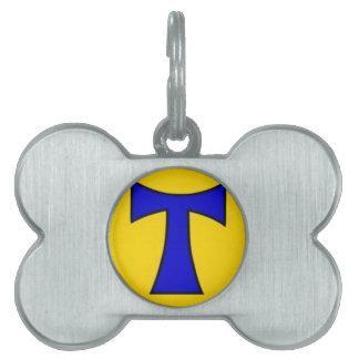 Ornamento amarillo azul de la cadena del pegatina  placa de mascota