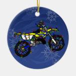 Ornamento amarillo de la bici de la suciedad del n ornaments para arbol de navidad