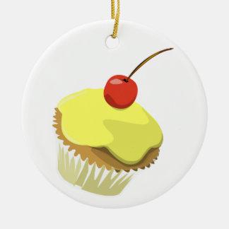 Ornamento amarillo de la magdalena adorno navideño redondo de cerámica