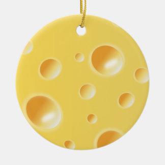 Ornamento amarillo de la textura del queso suizo adorno navideño redondo de cerámica